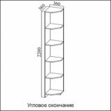 """Угловое окончание  с полками """"Консул-2"""""""